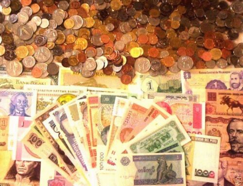 75 Foreign Coins And 10 Foreign Banknotes!