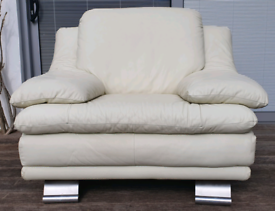 DELIVERY INCLUDED VGC genuine cream leather contemporary armchair