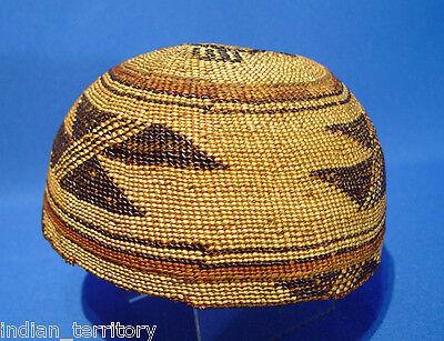 "Antique c1910 NORTHERN CALIFORNIA  Hupa  Basketry Hat 6.5"" d x 3.5' deep"