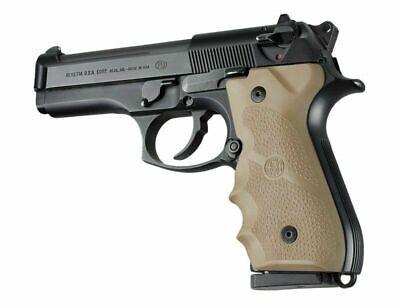 Hogue 92003 Beretta 92/96 Series Rubber Grip w/Finger Grooves Flat Dark -