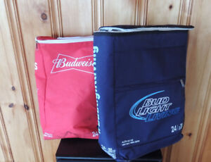 Two (2) Budweiser Beer Cooler Bag 24 Can Size Back Pack