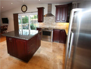 Complete kitchen with cherry wood cupboards and Bosch appliances