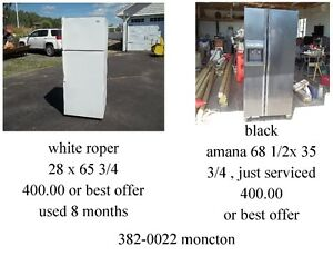 2 fridges , single and double door 382-0022 moncton
