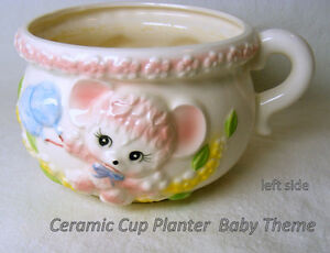 Large ceramic cup, Baby Décor, pastel blue duck and  pink mouse,