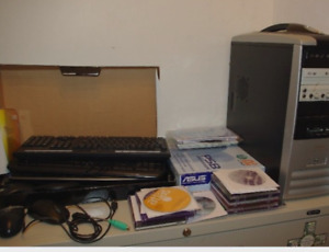 Computer, cords, scanner, keyboards, mice