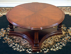 Superb Round Walnut Coffee Table w/ Glass Top SEE VIDEO