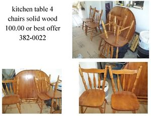 solid table- chairs 100.00 382-0022 , also 2 fridges