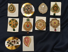 new gold plated multi colour brooches, £5 each brooch