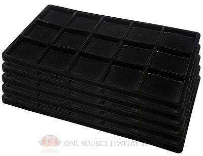 5 Black Insert Tray Liners W/ 15 Compartments Drawer Organizer Jewelry Displays