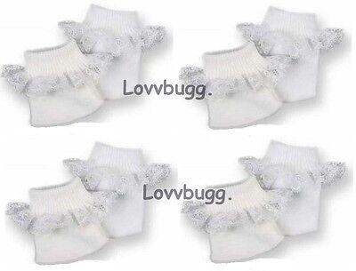 "Lovvbugg 4 Pr W Socks w Lace for 15"" - 18"" American Girl n Baby Doll or Preemie"