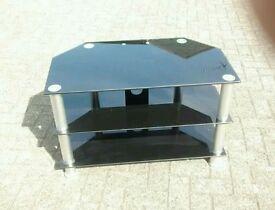 Black glass media television unit