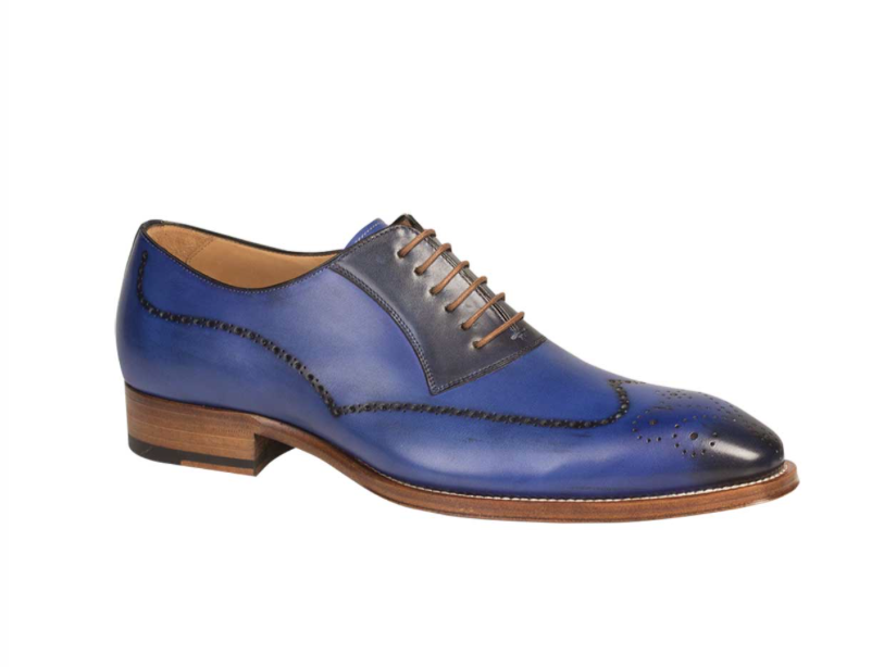 Mezlan Men's Kelvin Oxfords Wing Tip Electric Blue Leather Dress Shoes 6657