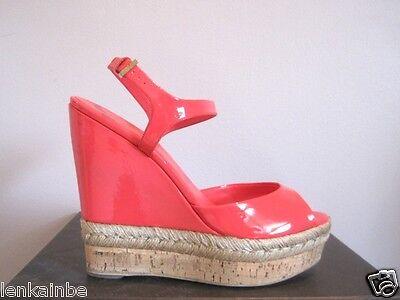 Gucci Hollie Pink Patent Espadrille Cork Wedges Shoes Sandals 38 8