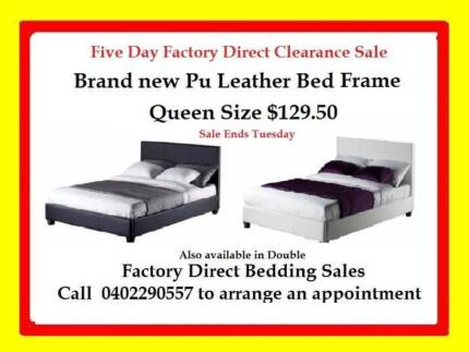 5 DAY FACTORY DIRECT SALE ON DOUBLE,QUEEN PU LEATHER BEDS $129.50 Broadmeadows Hume Area Preview