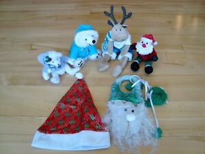 5 Assorted Christmas Plush + 1 Hat - Selling the whole lot