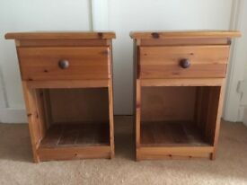 Two pine matching bedside tables