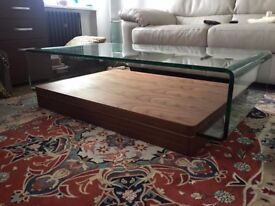 Glass and wood curved retro style coffee sitting room table hardly used