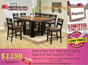 "Inventory Blow Out Sale-Brand New 7 Pcs Pub Table w/16"" Leaf W/6 Chairs@New Direction Home Furnishings"