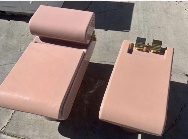 Kohler Pillow Talk Mauve Toilet Matching Bidet Excellent Condition