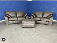 Designer 'Stamford' Monza Charcoal Leather Medium 3 Seater Sofa + 2 Seater Sofa + Storage Footstool