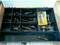 Box of 20+ Assorted Router Cutters & Accessories