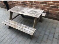 Children's outdoor table/ bench and umbrella