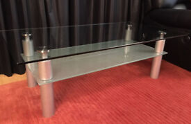 3 piece Furniture Village Glass Living room coffee table and side table set