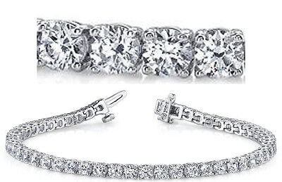 11.40 carat Round Diamond Tennis Bracelet 18k white Gold 38 x 0.30 ct GIA E-F VS