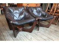Pair Of Danish Style Leather Luna Chairs