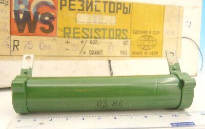 75 Ohm 10w 5 Ceramic Soviet Russian Military Grade Wire Resistor Vs-10 -10