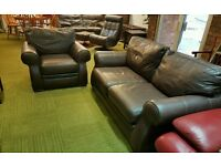 Brown leather 2 seater sofa and armchair 2 piece suite. (Quality low cost suites & sofas)