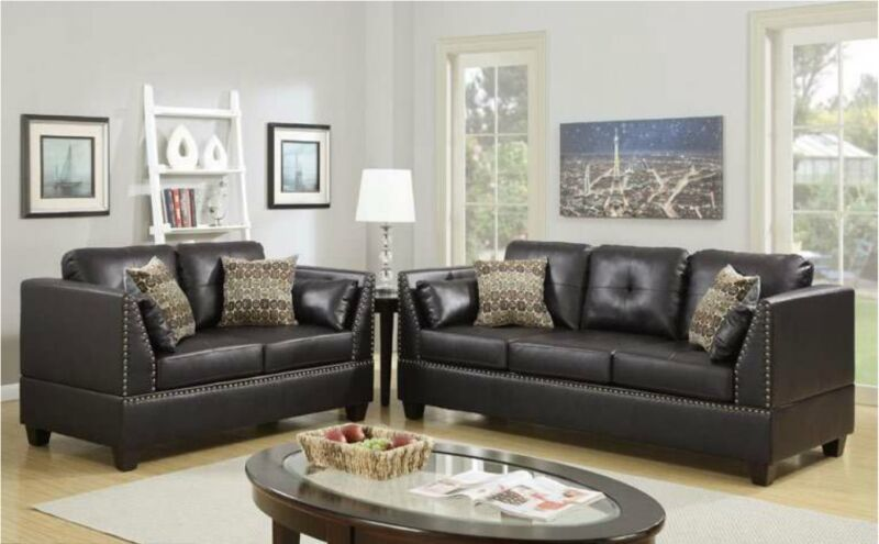 Sofa Set Living Room 2pc Set Bonded Leather Espresso Sofa & Loveseat Armrest