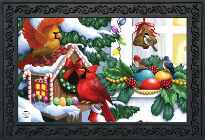 Home For The Holidays Christmas Doormat Birdhouse Indoor Out