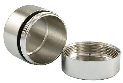 "1.25""x1"" Metal Aluminum Stash/Storage Case Snuff Box O-Ring SEAL Air/Water Tight"