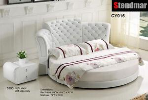 Modern Crystal button platform Round Bed W/10