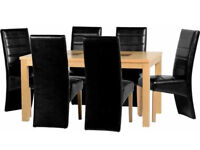 """Wexford 59"""" Dining Table With 6 Black Leather Chairs"""