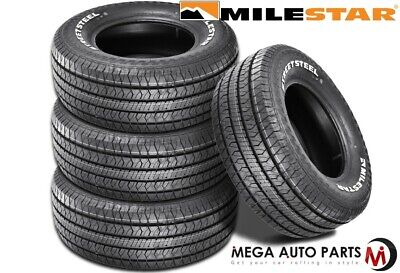 4 Milestar Streetsteel P225/70R14 98T White Letters All Season Muscle Car Tires
