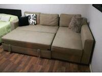 IKEA Manstad beige sofa bed corner