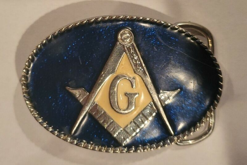 Masonic Order Free Mason Belt Buckle Gold Tone