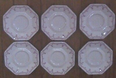 """Lot / 6 Independence Ironstone Red & White Castleton 5 7/8""""  Saucer Plate"""