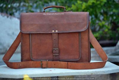 Rare Crazy Goat Leather Men's Briefcase Laptop Bag Travel Messenger Bag Satchel