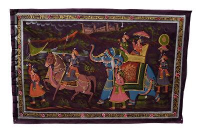 Hanging Wall Painting Mughal on Silk Art Scene de Life India 71x46cm 14
