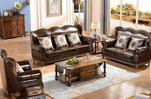 Solid timber with soft leather sofa set 3+2+1, as new!  At $4,000 East Lindfield Ku-ring-gai Area Preview