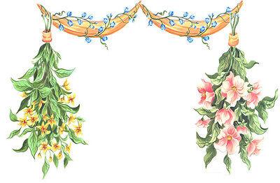 Tatouage Hanging Bouquets Rub on Transfers by Yovan