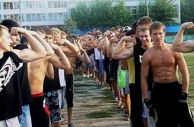 Shirtless Muscular Male Young Jocks Flexing Arms In Line Up PHOTO 4X6 C2125