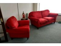 Lovely ref Sofa and Armchair.