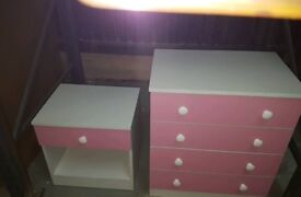 A brand new white x pink drawer chest x bedside table