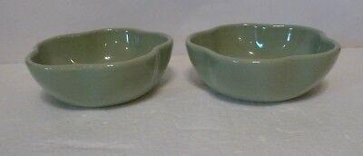 Set of 2 Gerald E Henn Workshops Green Petal Cereal Bowl - Roseville Spongeware