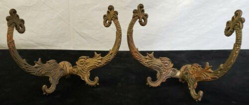 Pair of Antique Cast Brass Victorian Adjustable Coat/Hat Racks Dolphin