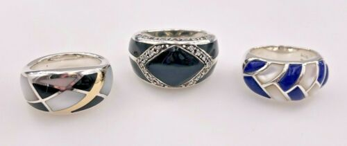 JTV STERLING SILVER 925 PEARL, ONYX, & LAPIS LAZULI INLAY DOME 3 BANDS RINGS LOT